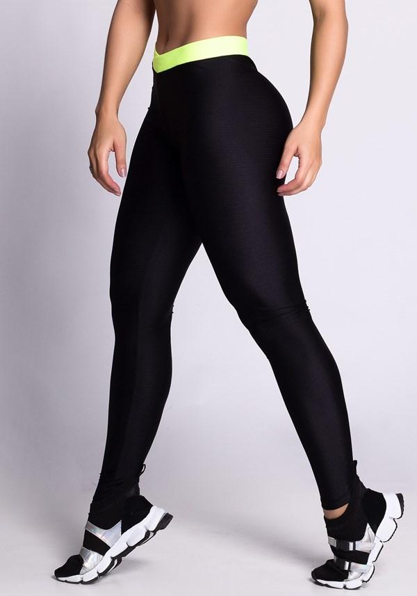 Calça legging shine preta com elastico neon
