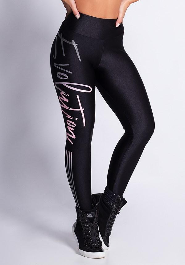 Calça legging shine preta evolution