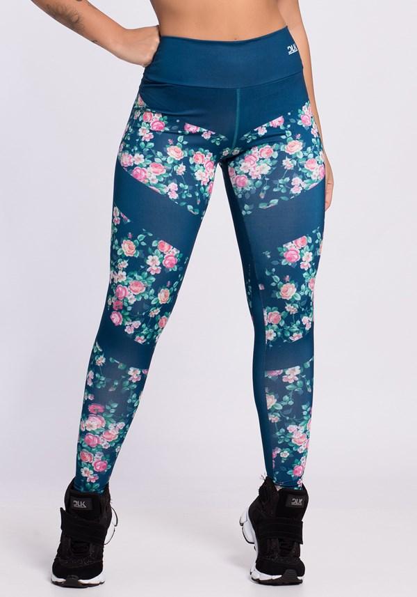 Calça legging sublimada azul com flores