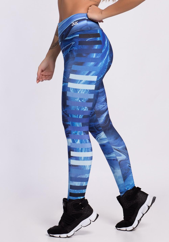 Calça legging sublimada blue waves