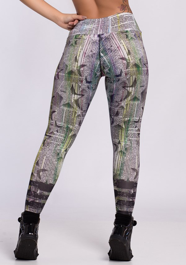 Calça legging sublimada newspaper colors