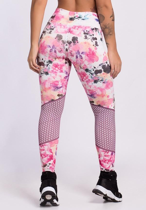 Calça legging sublimada soft flowers