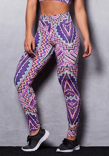 Calça legging suplex estampada abstract