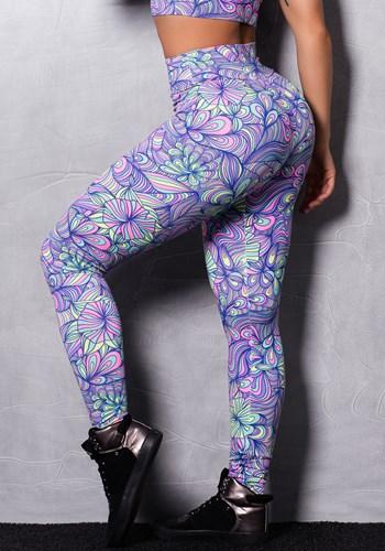 Calça legging suplex estampada abstract flowers