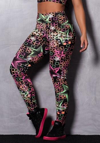 Calça legging suplex estampada black blocks