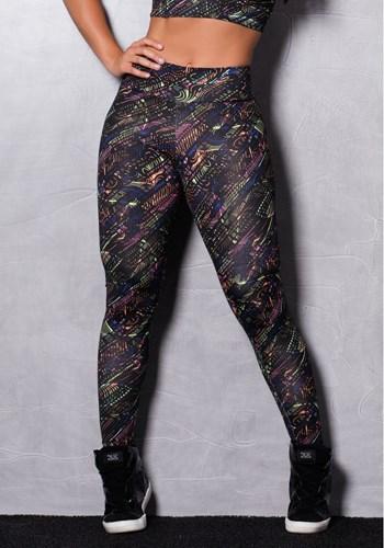 Calça legging suplex estampada black & neon