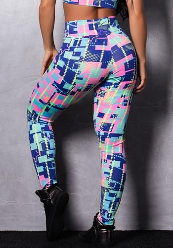 Calça legging suplex estampada blocks
