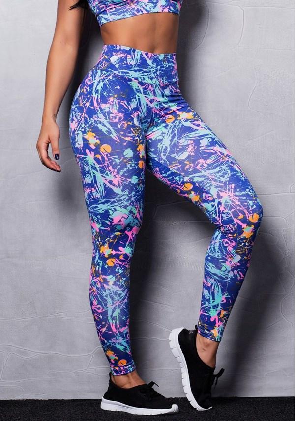 Calça legging suplex estampada colors stains