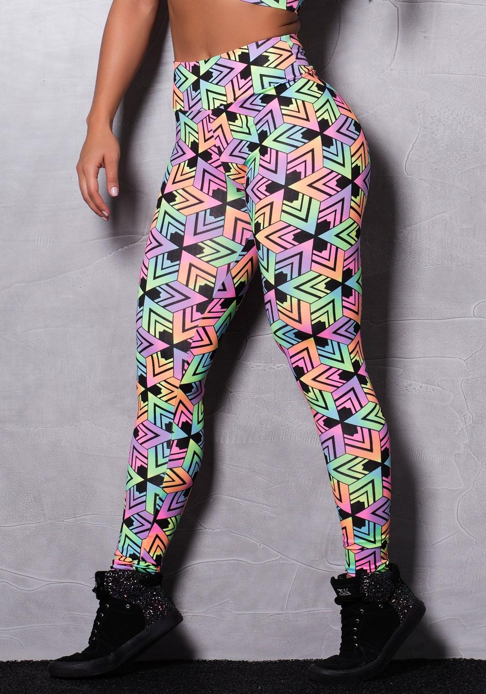Calça legging suplex estampada neon colors