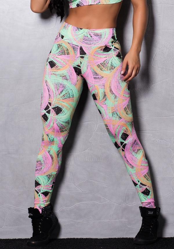 Calça legging suplex estampada neon stains