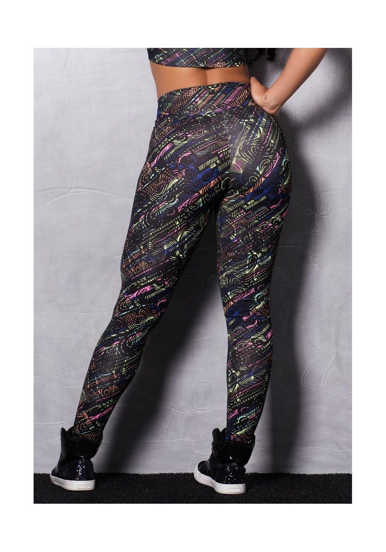 Calça legging suplex estampada preta com neon