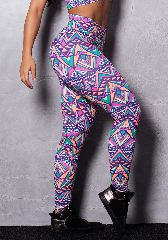 Calça legging suplex estampado abstract colors