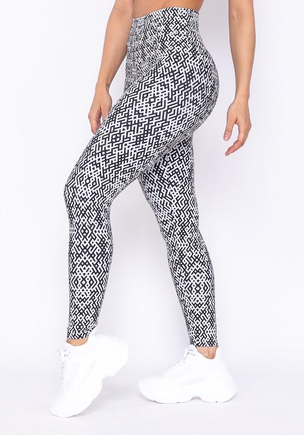 Calça legging technology básica estampa preta e branca