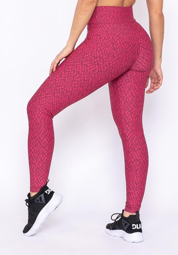 Calça legging technology básica estampa rosa