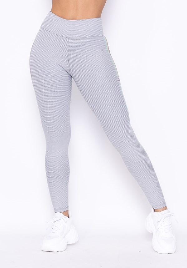Calça legging technology com silk listras branca