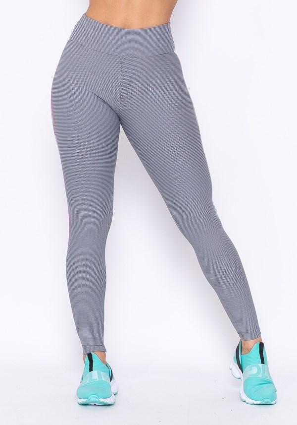 Calça legging technology com silk listras cinza