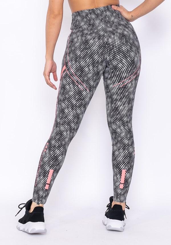 Calça legging technology com silk pixel preto e branco