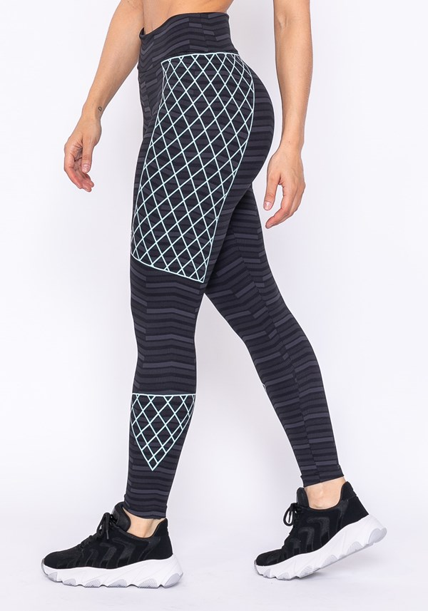 Calça legging technology com silk trançado zig zag verde