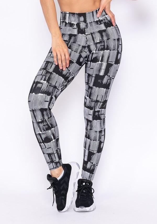 Calça legging technology estampa barras preto e branco