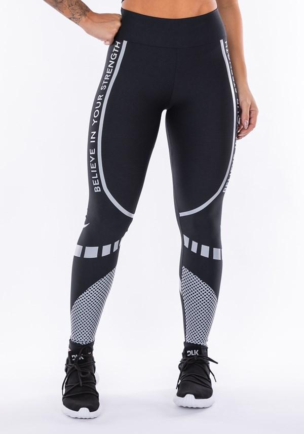 Calça legging technology preta com silk believe cinza