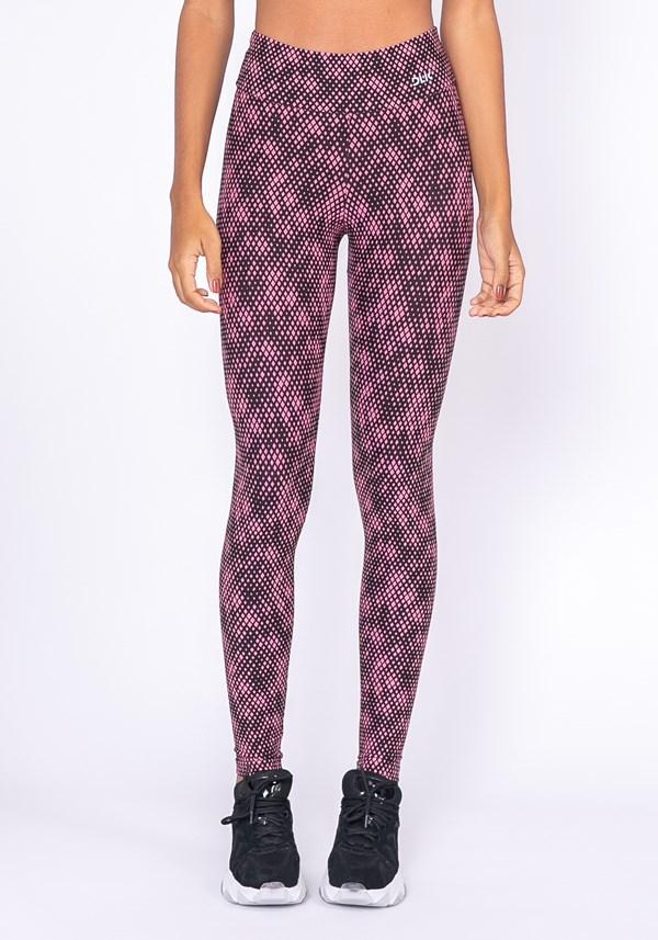 Calça legging technology preta estampa pixel rosa