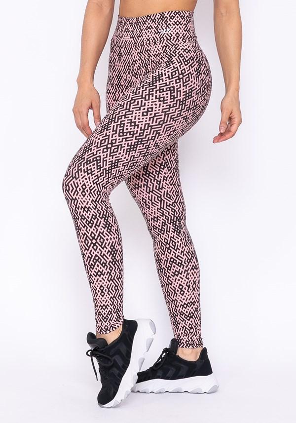 Calça legging technology preto e rosa