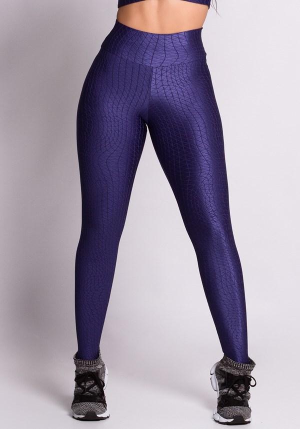 Calça legging texturizada com brilho azul marinho