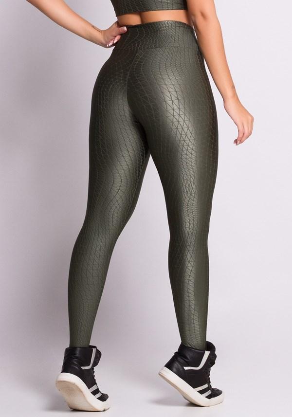 Calça legging texturizada com brilho verde