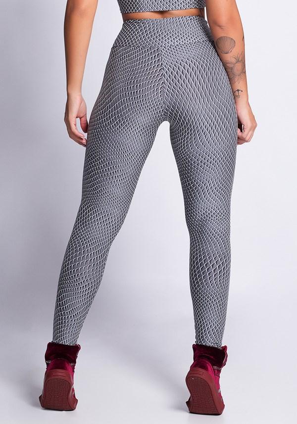 Calça legging texturizada poliamida cinza 3d