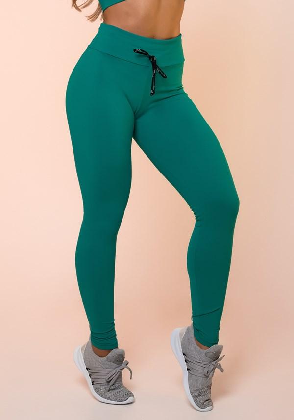 Calça legging verde com cadarço básica