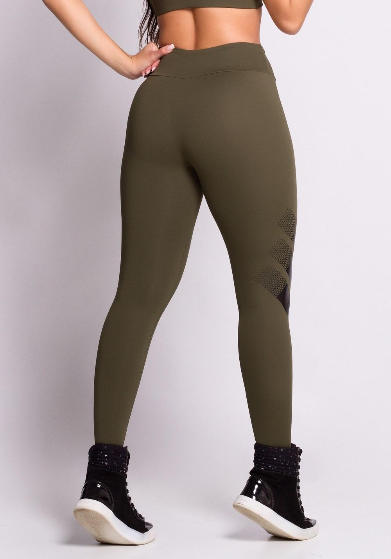 Calça legging verde com silk preto