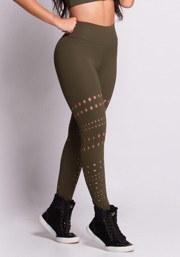 Calça legging verde corte à laser