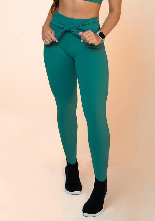 Calça legging verde nó frontal básica
