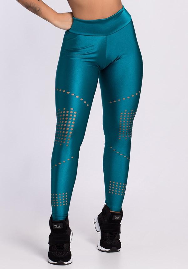 Calça legging verde shine com cortes a laser