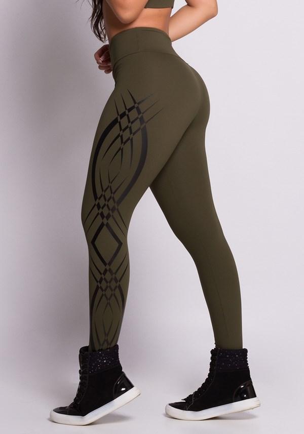 Calça legging verde tribal
