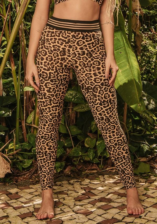 Calça legging wild com elástico estampada leopardo