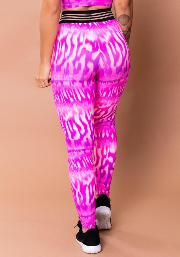 Calça legging wild com elástico estampada lince rosa