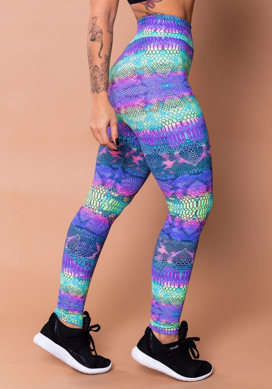 Calça legging wild estampada cobra colorida