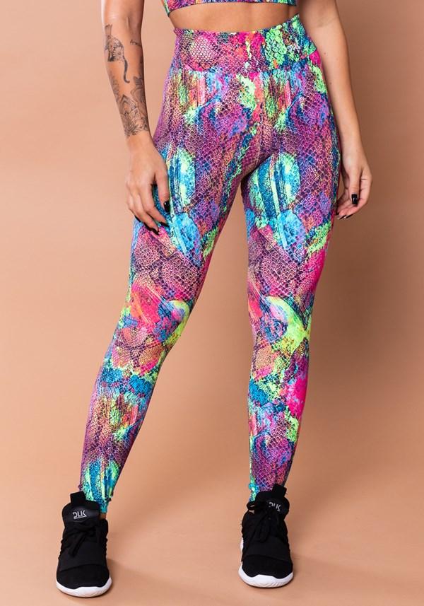 Calça legging wild estampada lagarto colorido