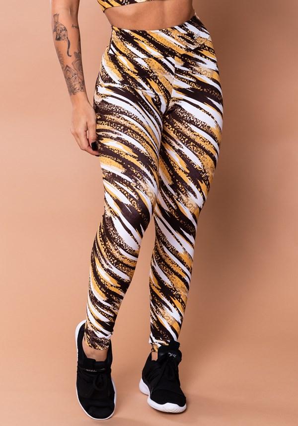 Calça legging wild estampada onça marrom