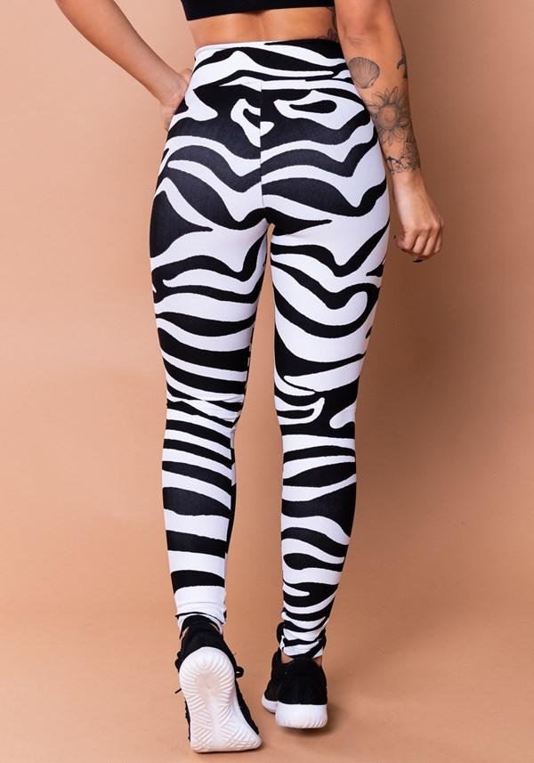 Calça legging wild jacquard estampa de zebra preta