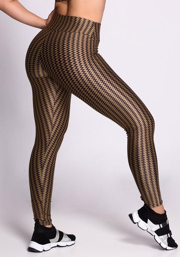 Calça legging zig zag preta e dourada
