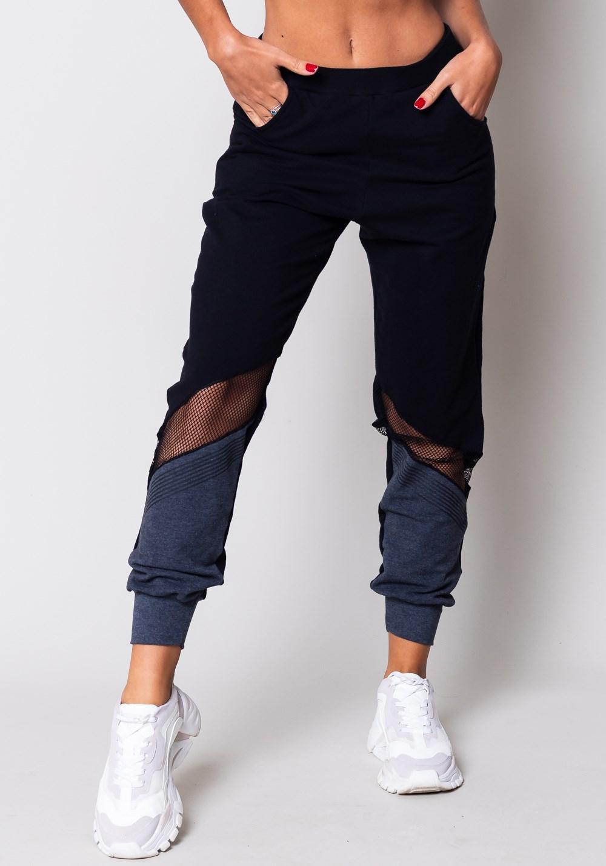 Calça moletom preta e grafite com bolso e tela