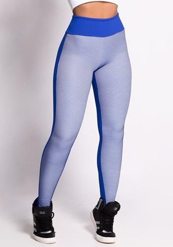 Calça poliamida azul e branco 3d