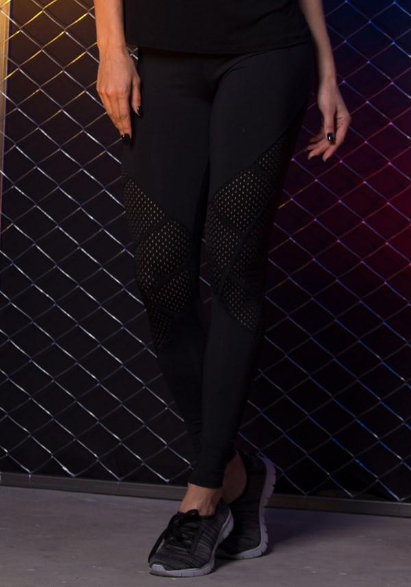 Calça poliamida preta com recortes em tela