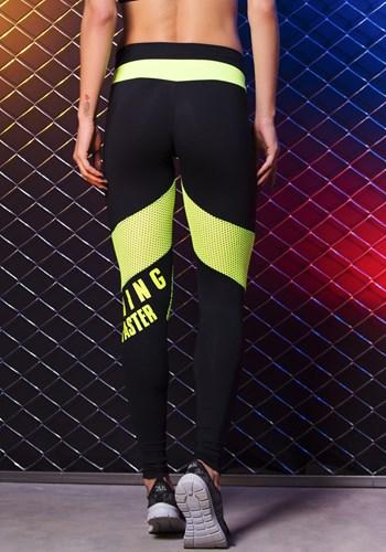 Calça poliamida preta com tela neon