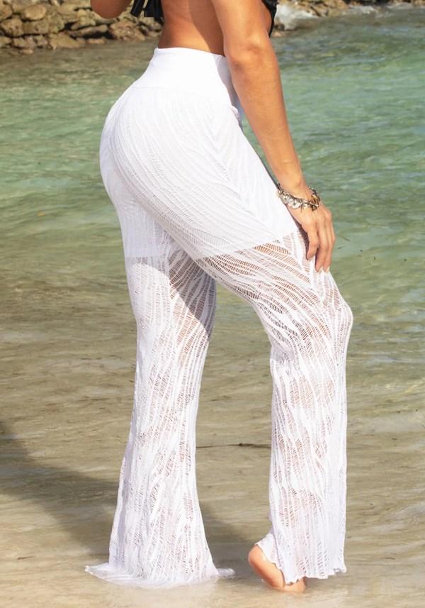 Calça saída de praia renda branca
