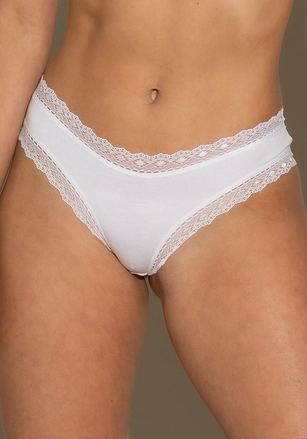 Calcinha tanga intimate com rendinha branco liso