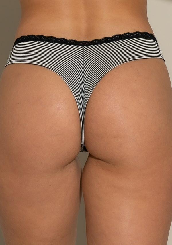 Calcinha tanga intimate com rendinha na cintura listrado preto e branco
