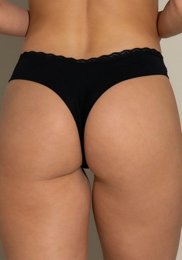 Calcinha tanga intimate com rendinha na cintura preto liso